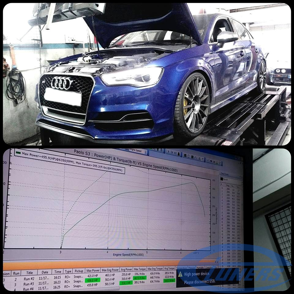 Audi S3 8V 2.0 TFSI with TTE525 on dyno - Etuners stage5 ECU remap for 98RON + WMI