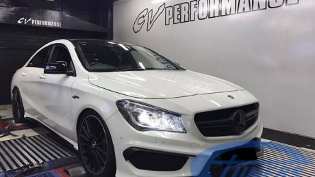CLA45 AMG Hybrid turbo on dyno with an Etuners custom ECU remap