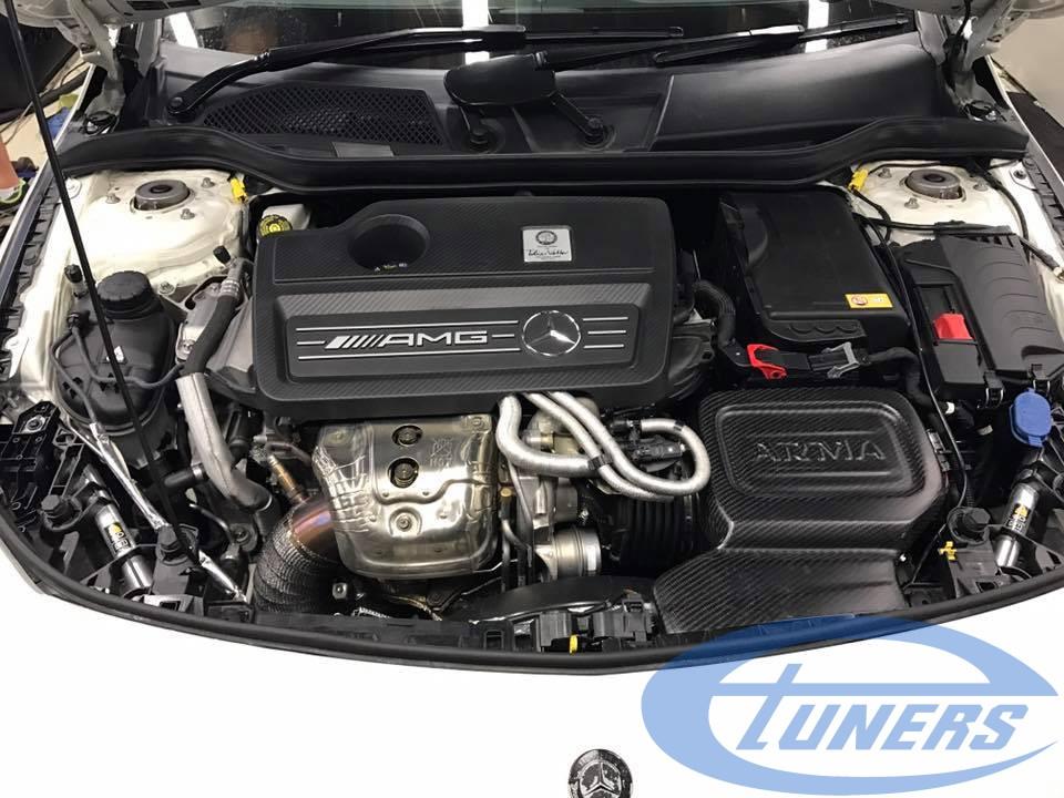 CLA45 AMG Hybrid turbo on dyno with an Etuners custom ECU remap