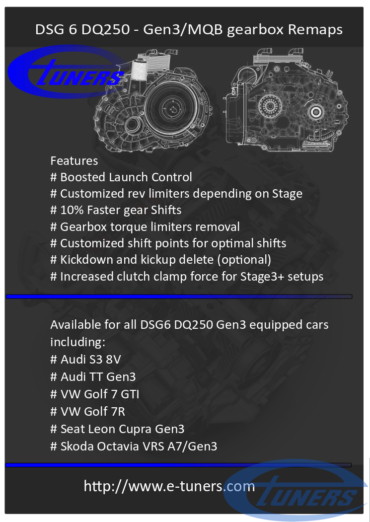 DSG6 DQ250 gearbox remaps for VAG Gen3/MQB